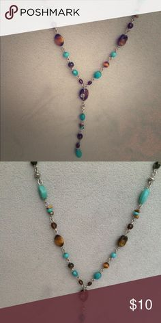 Bead necklace Great necklace with green and brown stones set on a silver chain Jewelry Necklaces