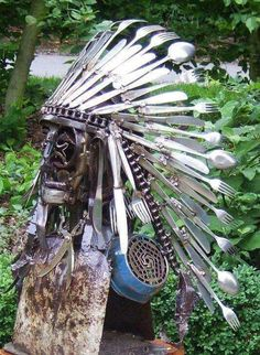 Indian chief headdress made from silverware