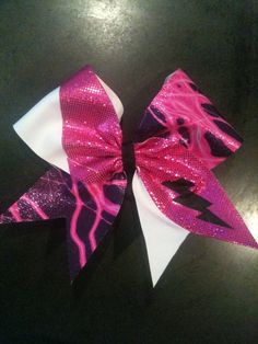 pink and white lightning bold cheer bow #cheerbow