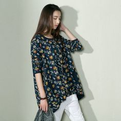 Navy daisy print cotton women shirt blouse oversize topThis dress is made of cotton linen fabric, soft and breathy, suitable for summer, so loose dresses to make you comfortable all the time.Measurement: One Size:  length 88cm / 34.32