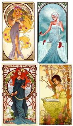 Art Nouveau Disney Princesses agencement & ou par NeverBirdDesigns