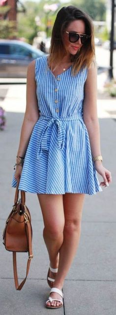 Fashionably Kay Striped Little Sundress Casual Dresses, Short Dresses, Casual Outfits, Summer Dresses, Summer Fashion Outfits, Spring Outfits, Fashion Dresses, Skirt Outfits, Dress Skirt