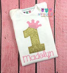 Baby girl Princess Birthday Shirt - 1st Birthday Princess Shirt - Pink & Gold Princess Birthday Outfit - Baby Girl 1st Birthday Outfit by SewSoDarling on Etsy