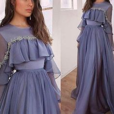 chiffon prom dresses 2020 crew neckline long sleeve evening dresses be – JZbridal Abaya Fashion, Muslim Fashion, Fashion Dresses, Hijab Dress Party, Party Wear Dresses, Dress Prom, Dress Long, Chiffon Dress, Wedding Dresses