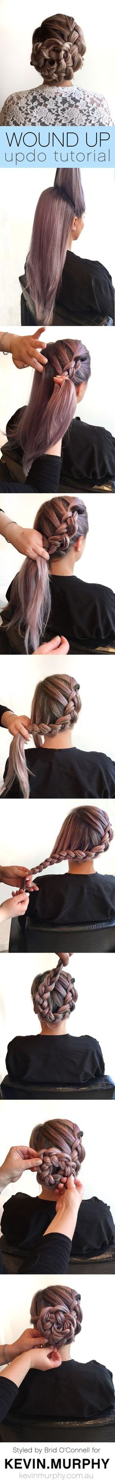 Braided updo using a simple dutch braid base. Gorgeous!: