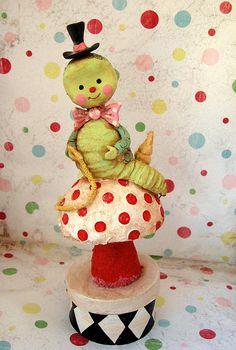 *PAPER CLAY ~ Wonderland Catepillar by thepolkadotpixie, via Flickr.