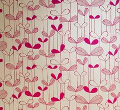 Saplings Wallpaper in Cream and Pink