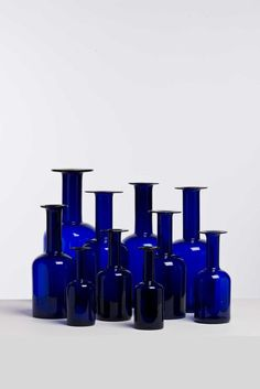 "Otto Brauer ""Dix"" vases - for Holmegaard Cobalt Glass, Red Glass, Cobalt Blue, Glass Art, Wassily Kandinsky, Im Blue, Blue And White, Mantle Styling, Yves Klein Blue"