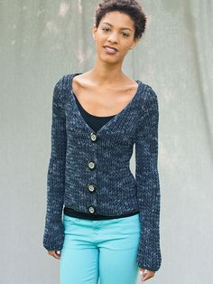 Worked in an easy ribbed stitch, this long-sleeved cardigan with a deep v-neck is perfect for layering.   Skill level:  Easy