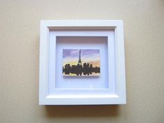 Miniature Framed Landscape Painting, City Skyline at Night Art, Paris Silhouette at Sunset, French Cityscape, Eiffel Tower Painting, OOAK