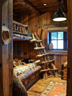 Rustic bunkbeds - these would be perfect for little cabins in campgrounds!