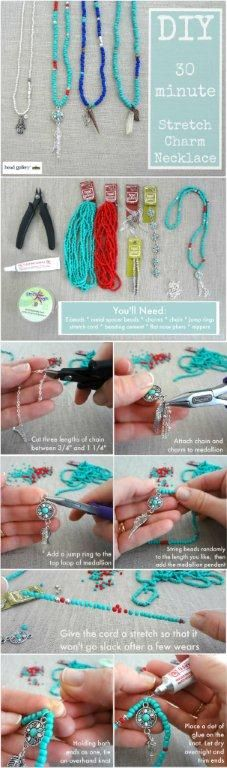 Create these DIY Stretch Charm Necklaces in 30 minutes!
