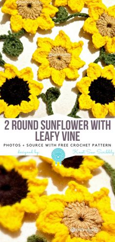2 Round Sunflower w Leafy Vine Free Crochet Pattern Keep the summer with this very easy and spectacular decoration! 2 Round Sunflower w Leafy Vine. Easy Knitting Projects, Easy Knitting Patterns, Crochet Flower Patterns, Crochet Flowers, Crochet Projects, Crochet Appliques, Crochet Ideas, Bunny Crochet, Free Crochet