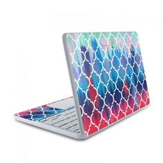 Neon Blue and Pink Cool Tribal Design Keyboard Decals by Moonlight Printing for 12 inch MacBook