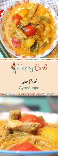 in Kurztrip nach Griechenland in der Suppenschüssel. Low Carb Rezepte von Happy Carb. https://happycarb.de/rezepte/fleisch/gyrossuppe/