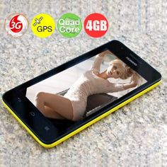 "HUAWEI G525 4.5"" Android 4.1 Quad Core 3G Smart Phone with 1GB RAM/4GB ROM/AGPS/Dual SIM - Yellow"
