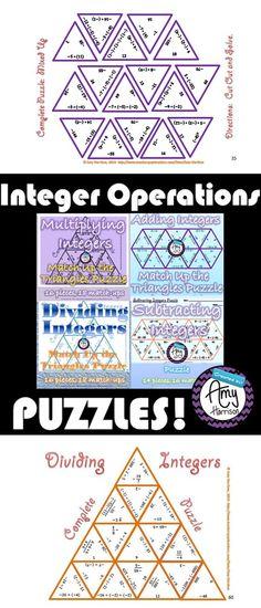 4 Puzzles:  Integer Operations:  Adding, Subtracting, Multiplying, & Dividing. Guided Math, Math 8, Math Teacher, Teaching Math, Math Numbers, Rational Numbers, Fun Math Activities, Math Games, Seventh Grade Math
