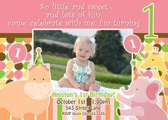 Sweet Safari Invite Girl 1st Birthday  by JRCreativeDesigns, $17.99