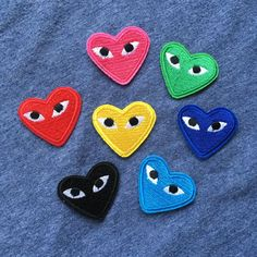 """COMME Des GARCONS CDG """"PLAY HEART"""". Embroidery Iron / Sew On Patch Motif. use perhaps for dress neck, fancy dress, maybe for cushions or home decor use goth projects, bags, etc. How to Iron .   eBay!"""