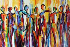 The Palette Knife People living tight? Really? Abstract Figurative on the easel of Texas Artist Laurie Pace -- Laurie Justus Pace