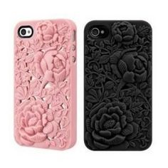 Rose iPhone  4 4S Case - Silicone Rose Embossing Cover