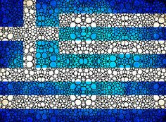 Greek Flag - Greece Stone Rock'd Art By Sharon Cummings
