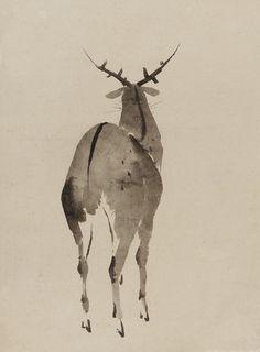 """Deer"". Ink on paper. Early 19th century, Japan, by artist Katsushika Hokusai. Freer/Sackler Gallery, Smithsonian"