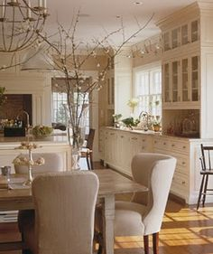 A Dream House for Trish: Dream kitchen Inspiration. The neutrals. Küchen Design, House Design, Design Ideas, Glass Front Cabinets, Upper Cabinets, White Cabinets, Kitchen Cabinets, Tall Cabinets, Cream Cabinets