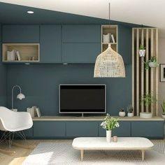 Tv Wall Furniture, Pink Furniture, Furniture Design, Home Room Design, Home Interior Design, Interior Presentation, Rack Tv, Design Studio Office, Tv Unit Design
