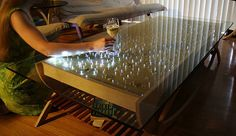 interactive LED coffee table--the lights react to motion