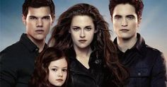 From the left Jacob A.K.A Taylor lautner Bella A.K.A Kristen stewert Edward A.K.A Robert Pattson and Renesmee Played by many diffrent people Twilight love it