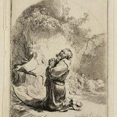 Rembrandt, Hiëronymus, biddend ( B 101 ), 1632. Teylers Museum
