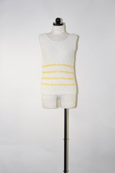 70s white knit tank top / vintage nubby knit shell by QuietUnrest