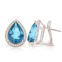Blue Topaz and Diamond French Clip Halo Earrings 9.0ctw in 9ct White Gold: Size: 12 x 16 mm (0.5 x 0.6 in)… #UKOnlineShopping #UKShopping