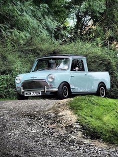 Proof that you don't need a big one to be happy. Mini Clubman, Mini Countryman, Mini Cooper S, Classic Trucks, Classic Cars, Bmw Truck, Fiat 500, Ultimate Garage, Minis