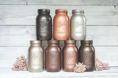 [Bottom right center is vintage copper] Rust-oleum metallic spray paint colors Metallic Spray Paint Colors, Copper Spray Paint, Spray Painting Metal, Metallic Decor, Brushed Nickel Spray Paint, Rustoleum Spray Paint Colors, Mason Jars, Mason Jar Crafts, Limes