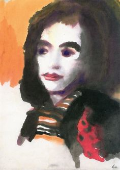 Portrait of a Woman (Jolanthe Nolde) c 1950 Emil Nolde watercolour on paper 49 x 35 cm