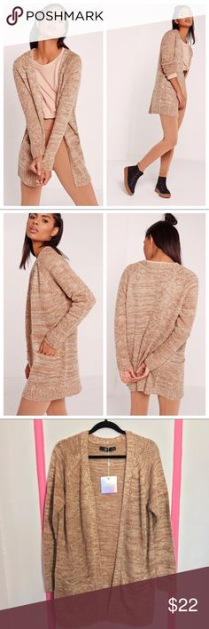 Missguided pink cardigan sweater duster Missguided marked knit long open cardigan sweater sister. this is a re-posh, still new with tags!! cardigan is more blush pink than nude/tan in pictures. Missguided Sweaters Cardigans