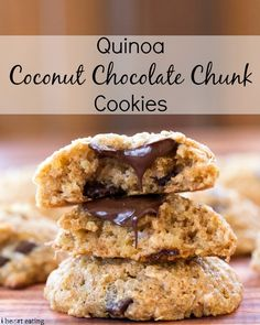 Quinoa Coconut Chocolate Chunk Cookies| http://www.ihearteating.com| #chocolatechip #cookie #healthy