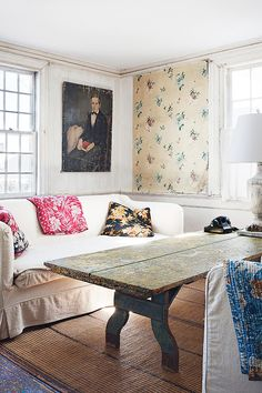 gotta love that John Derian sofa in his summer house, lots of deconstructed furniture in this space