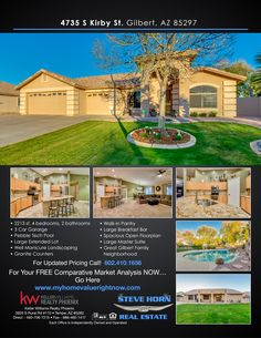 The Steve Horn Team is your most comprehensive source for real estate homes for sale in Phoenix, AZ. Call us at Granite Counters, Walk In Pantry, Estate Homes, Master Suite, Open House, The Neighbourhood, Wave, March, Floor Plans