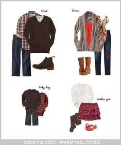 What to wear for family Christmas pictures. Love the coral and brown. Obviously not a skirt for Jack, but a cream thermal shirt would work just as well! Family Christmas Pictures, Fall Family Photos, Fall Photos, Family Pics, Fall Pictures, Family Portrait Outfits, Family Picture Outfits, What To Wear Fall, How To Wear