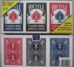 Bicycle 3 Deck Lot of Playing Cards Red, Black & Blue by Bicycle. $9.95. Three Decks Bicycle Brand Poker Size Playing Cards. Red, Black and Blue.