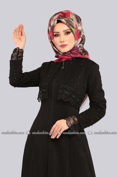 Güpür ve İncili Ferace 2111MS212 Siyah Hijab Evening Dress, Hijab Dress, Evening Dresses, Shrug For Dresses, Lovely Dresses, The Dress, Abaya Fashion, Muslim Fashion, Fashion Dresses