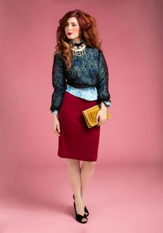 Vintage Nothing but Knit Skirt, #ModCloth I especially love her hair do, but that red knit skirt is also a must have