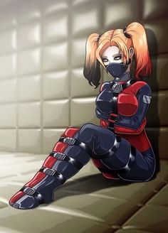 """This one has been sitting on my """"desk"""" for a whiiile. The super fun and sexy Harley Quinn (Arkham City look) being confined in a padded room. Contained Harley Comic Book Characters, Comic Character, Comic Books Art, Comic Art, Gotham Characters, Dc Comics, Comics Girls, Harley Quinn Comic, Joker And Harley Quinn"""