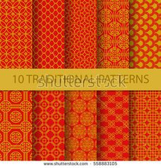 10 different traditional chinese patterns. Endless texture can be used for wallpaper, pattern fills, web page background,surface textures. vector illustration