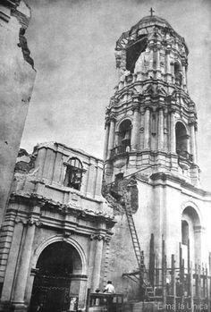 Iglesia de Santo Domingo luego del terremoto de 1940.  Fuente: Lima la Única