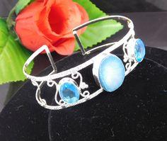 Faceted Swiss Blue Topaz Quartz  .925 Silver Handmade Bangle Cuff Jewelry JC201 #Handmade