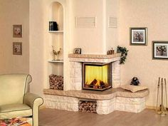 Modern fireplaces are gorgeous focal points of interior design and home staging that transform rooms and beautify home decorating ideas Wood Fireplace Mantel, Fireplace Built Ins, Fireplace Shelves, Farmhouse Fireplace, Home Fireplace, Fireplace Surrounds, Corner Fireplaces, Decorative Fireplace, Fireplace Ideas